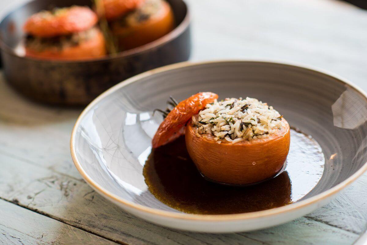Basmati & Wild Rice Baked Tomato