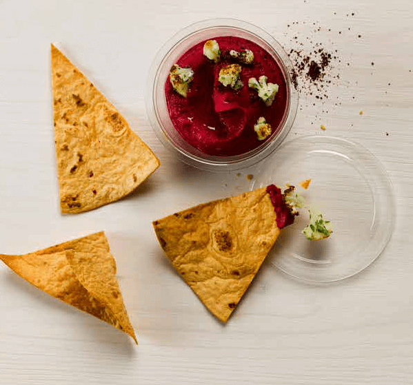 Beetroot Hummus with Baked Harissa Tortilla Triangles